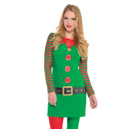 Elf Womens Adult Long Sleeve Santas Helper Christmas Costume Dress-L/XL
