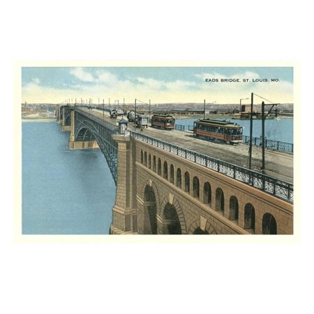 Eads Bridge, Streetcars, St. Louis, Missouri Print Wall Art