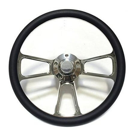 """1967 Camaro 14"""" Billet Black Muscle Style Wheel with Chevy SS Horn & Adapter"""