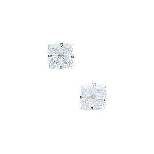 Jewelryweb Square Cut Segment Cubic Zirconia Light Prong Stud Earrings