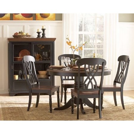 Homelegance Dining Table Set - Homelegance Ohana 5 Piece Round Dining Table Set in Black/Warm Cherry