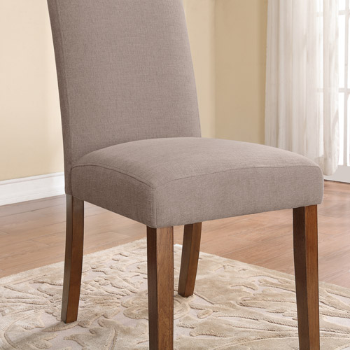 Dorel Living Linen Parsons Chair, Set Of 2, Dark Pine With Gray Seats by Dorel Living