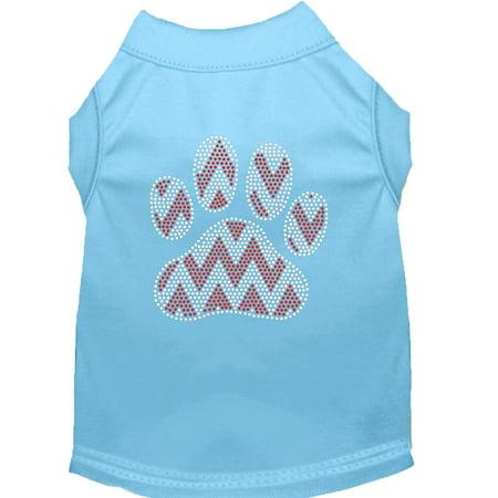 Candy Cane Chevron Paw Rhinestone Dog Shirt Baby Blue Lg (14) - Blue Candy Canes