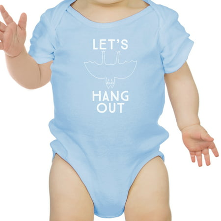 Let's Hang Out Bat Cotton Blue Baby Bodysuit First Halloween Outfit - 1st Halloween Onesie
