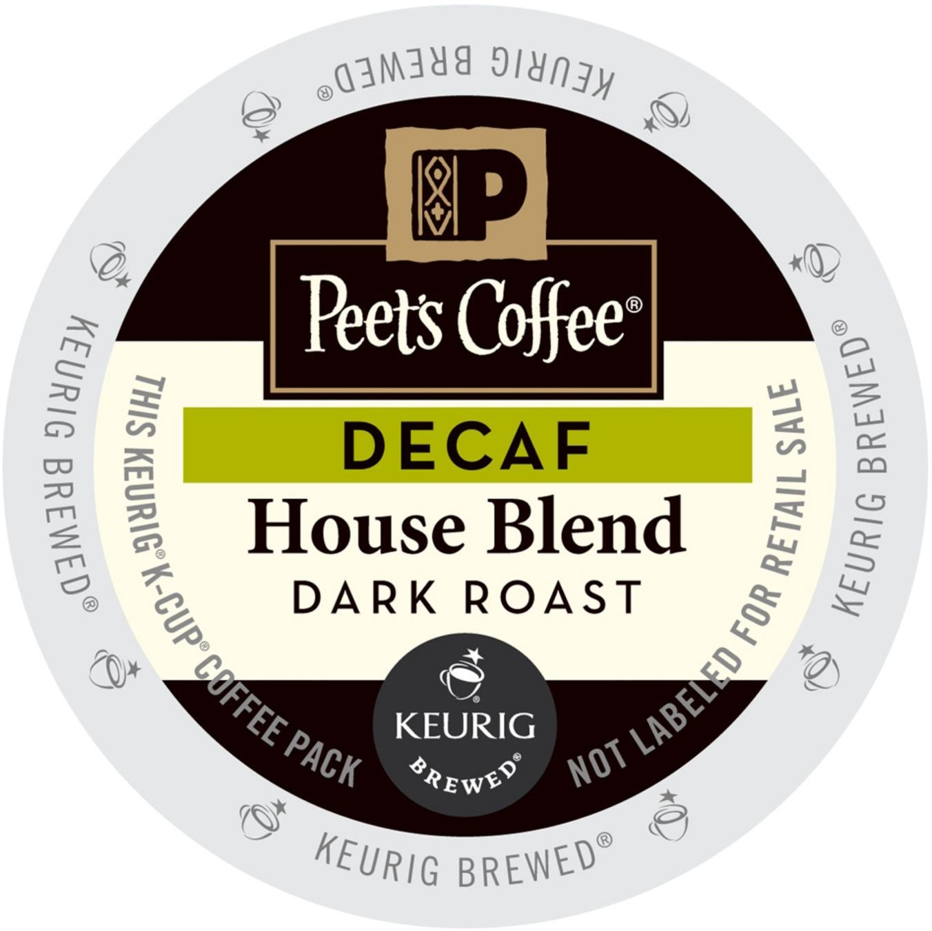 Peet's Coffee Decaf House Blend, K-Cup Portion Pack for Keurig Brewers (88 Count) (4x16oz)