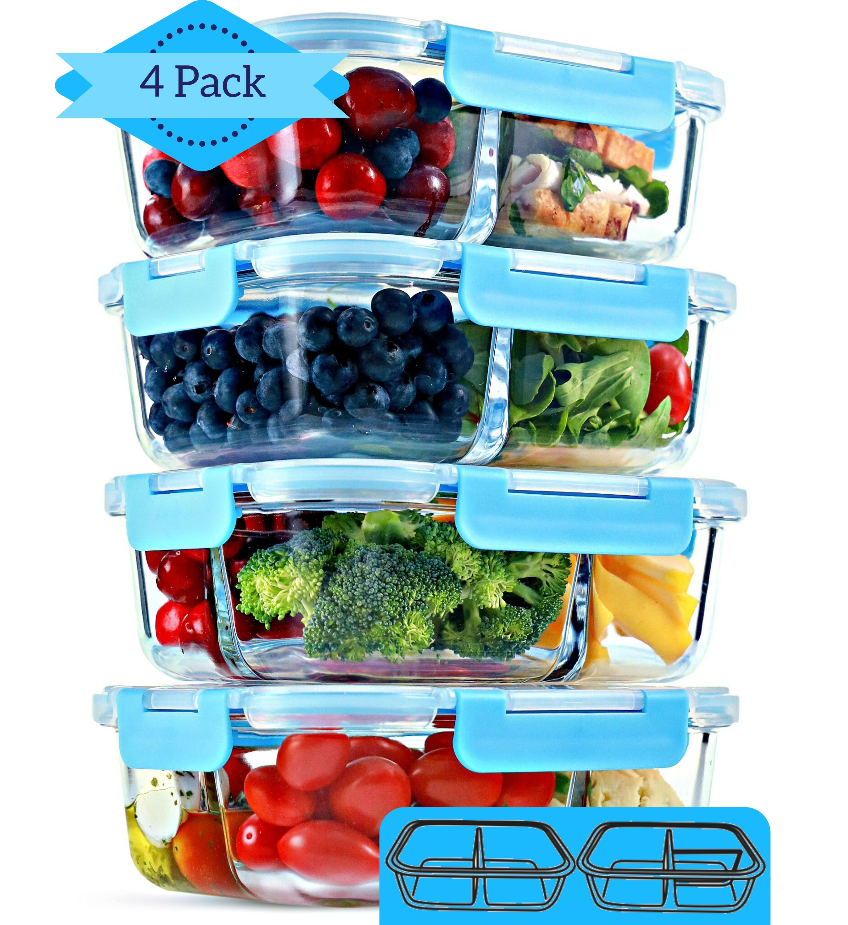 Glass Meal Prep Containers 4 Pack 30 Oz 2 3 Compartment Food Storage Containers With Lids Bpa Free Food Prep Containers Bento Box Lunch Box Portion Control Airtight Walmart Com Walmart Com