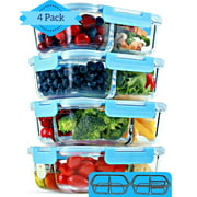Glass Meal Prep Containers [4 Pack, 30 oz] - 2 & 3 Compartment Food Storage Containers with Lids, BPA Free Food Prep Containers, Bento Box, Lunch Box, Portion Control, Airtight