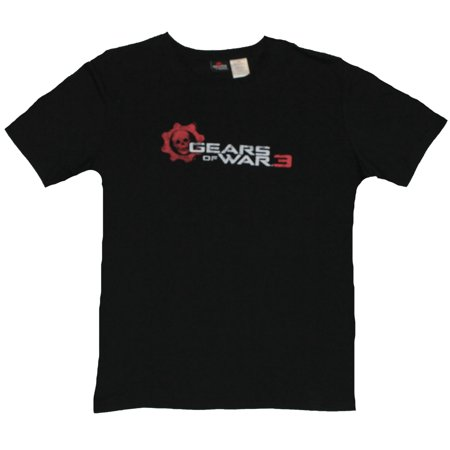 Gears of War III (XBOX 360) Mens T-Shirt  - Red Skeleton Logo on Black