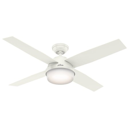 Hunter 52 Dempsey Damp Fresh White Ceiling Fan With Light Handheld Remote