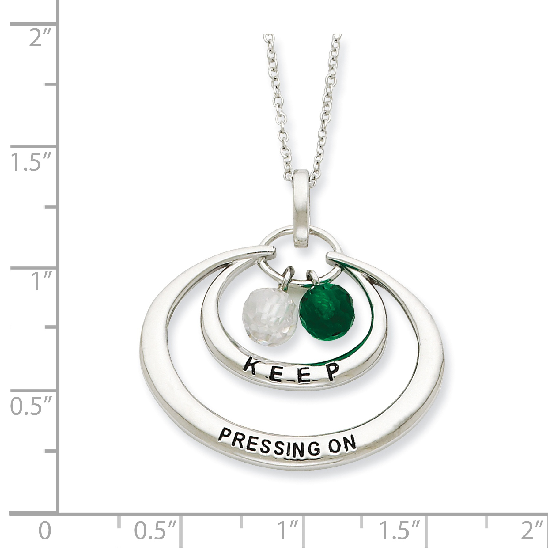 925 Sterling Silver Cubic Zirconia Cz Keep Pressing On 18 Inch Chain Necklace Pendant Charm Inspirational Fine Jewelry Gifts For Women For Her - image 1 de 3