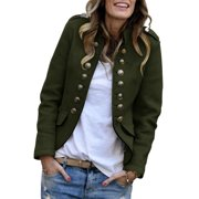 Women Mock Neck Fitted Coat Buttons Pockets Blazers Jackets