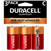 Duracell 1.5V Quantum Alkaline C Batteries with PowerCheck, 3 Pack
