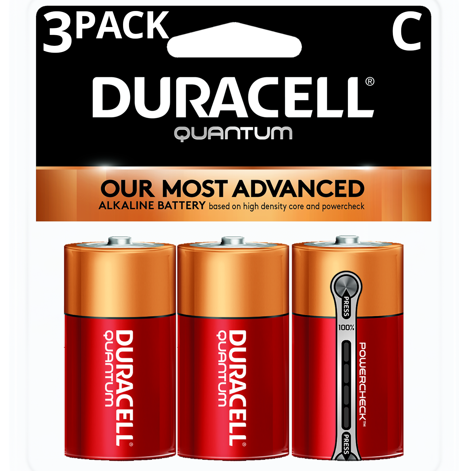 Duracell 1.5V Quantum Alkaline C Batteries with PowerCheck 3 Pack