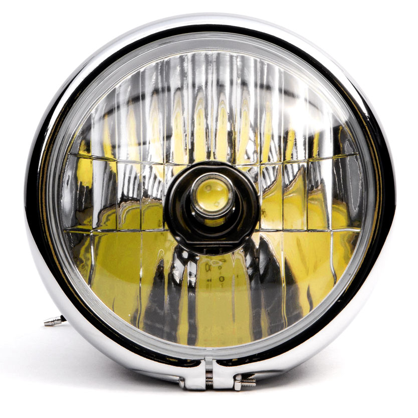 "Krator 6"" Black w/ Chrome Ring LED Motorcycle Headlight Side Mount Running Light Hi/Lo for Kawasaki VN Vulcan 700 750 - image 4 de 6"