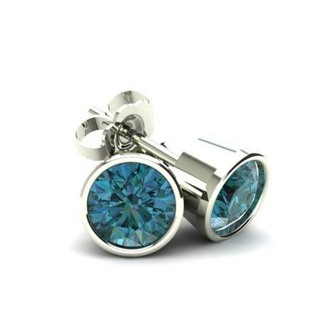 .50Ct Round Brilliant Cut Heat Treated Blue Diamond Stud Earrings in 14K Gold Round Bezel Setting