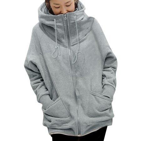 Women's Full Zip Hoodie with Two Pockets Gray (Size XL /