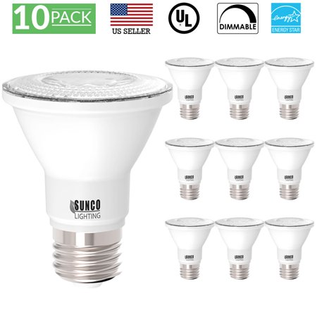 Sunco Lighting 10 Pack PAR20 LED Light Bulb 7 Watt (50W Equivalent) 3000K Kelvin Warm White 470 Lumens, 25,000 Hours, Dimmable, Indoor / Outdoor, Flood, Accent and Highlight - UL & ENERGY STAR