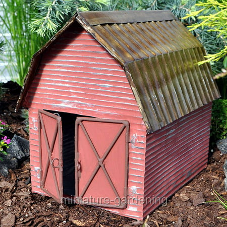 Miniature Red Metal Barn for Miniature Garden, Fairy Garden ()