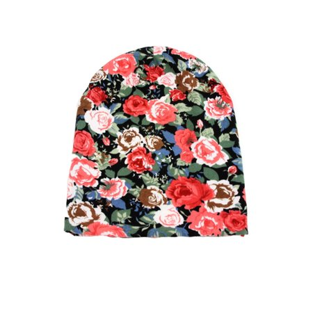 Soft Jersey Roses Floral Beanie 404HB