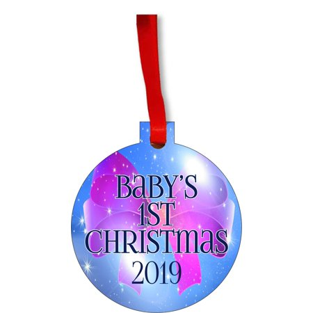New Baby - Baby's First Christmas 2019 Ornament - Baby Girl Bow Round Shaped Flat Hardboard Christmas Ornament Tree Decoration - Unique Modern Novelty Tree Décor