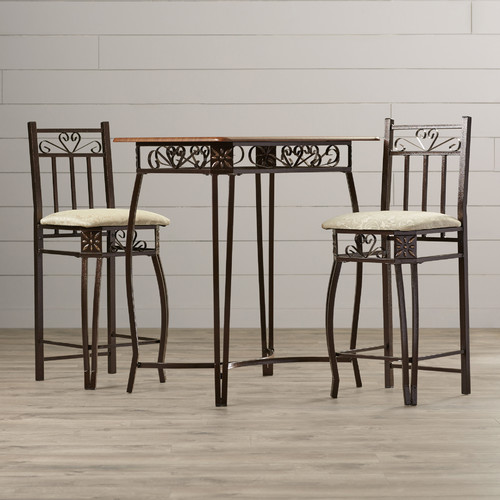 August Grove Alysa 3 Piece Counter Height Pub Table Set