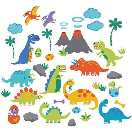 Dino Friends Nursery/Kids Room Peel & Stick Wall Decals - Dinosaur Wall Decor