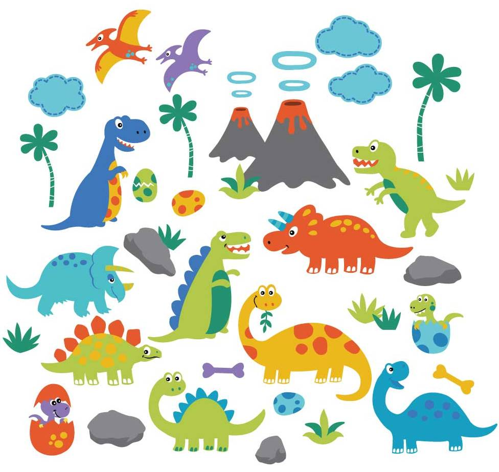 Dino Friends Nursery/Kids Room Peel & Stick Wall Decals