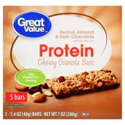 Great Value Chewy Protein Bars, Peanut, Almond & Dark Chocolate, 5 Count