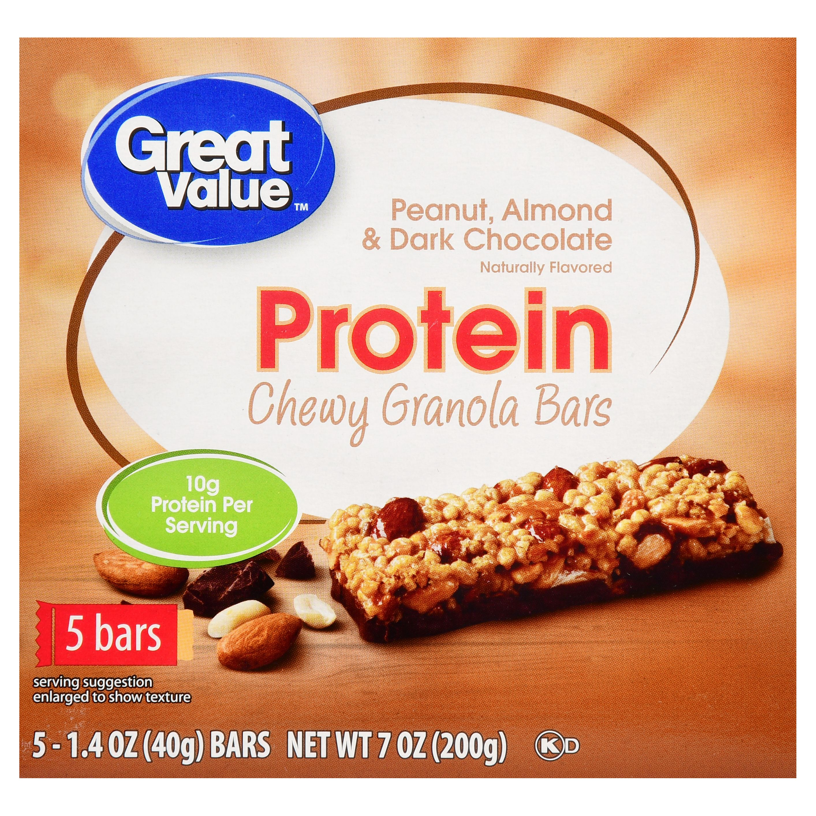 Great Value Chewy Protein Bars, Peanut Almond & Dark Chocolate, 10g Protein, 5 Ct