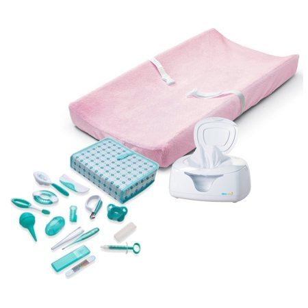 Summer Infant Contoured Changing Pad with Ultra Plush Cover (Pink), Wipes Warmer & Nursery Health Care Kit