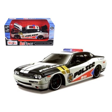 Police Custom (2010 Dodge Challenger Police White Custom 1/24 Diecast Model Car by)