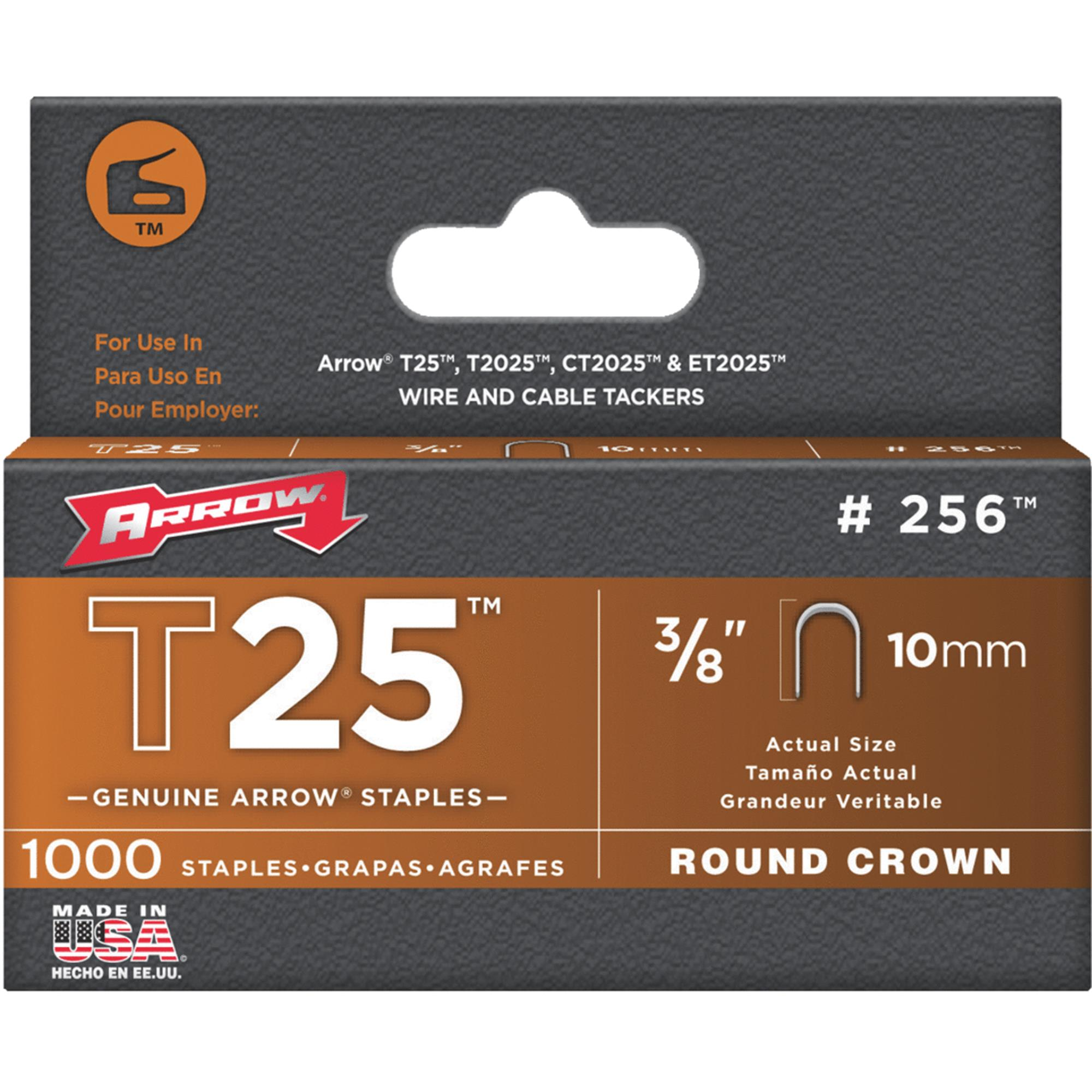 Arrow 3/8-Inch T25 Round Staples, 1000 Count