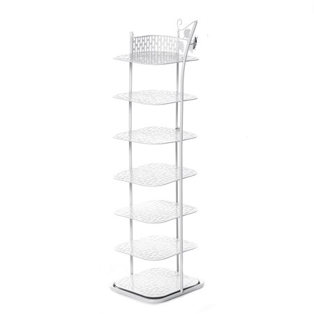 White Entryway Narrow Shoe Rack for 7 Pairs Shoes, Metal