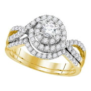 14kt Yellow Gold Womens Natural Diamond Round EGL Bridal Wedding Engagement Ring Band Set (1.00 cttw