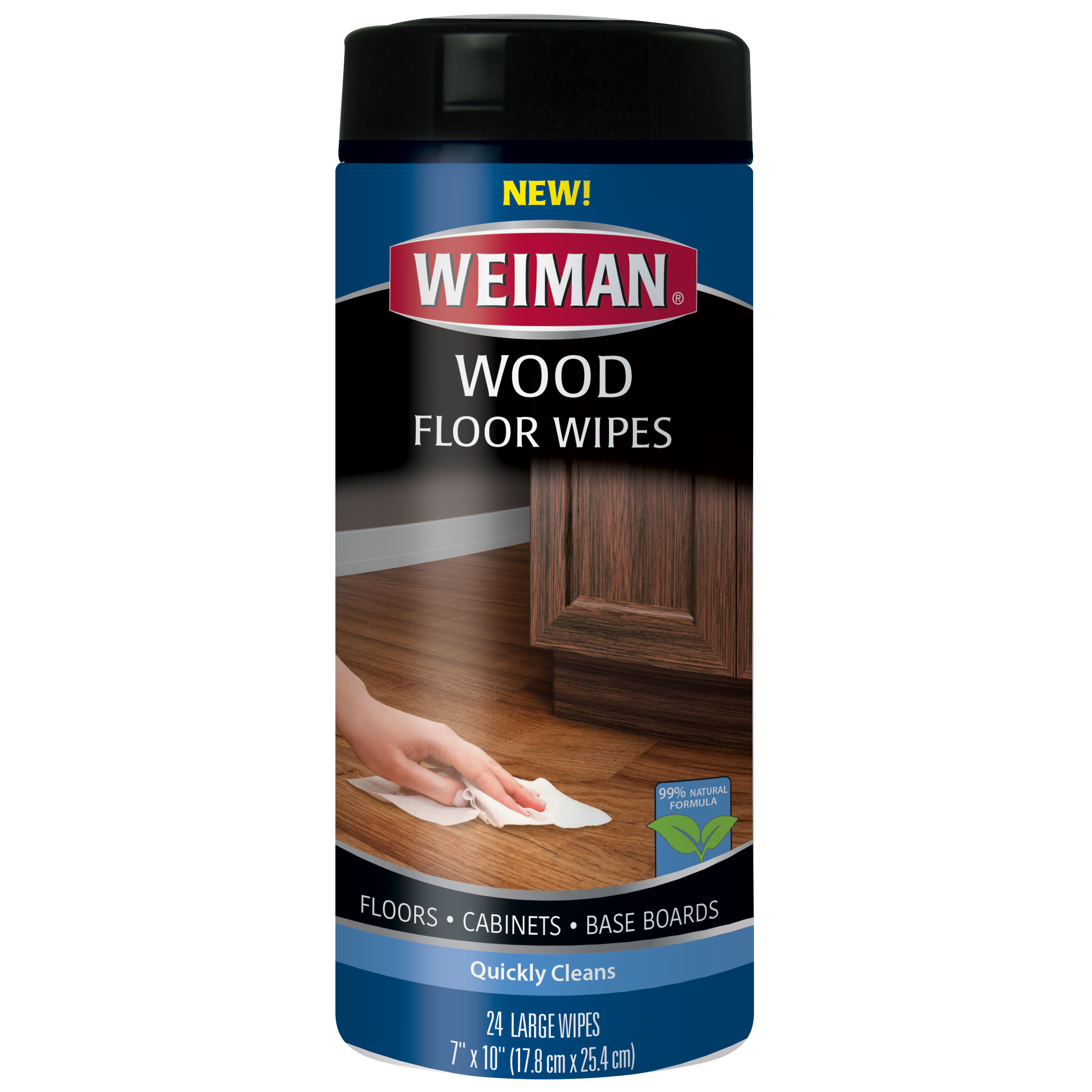 "Weiman Wood Floor Wipes - Quickly Clean floors, baseboards, and cabinets - 99% Natural Formula, Safe for Use Around Kids & Pets - 24 Large Wipes (7"" x 10"")"