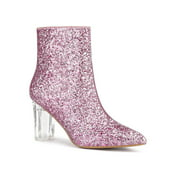 Allegra K Women's Clear Block Heel Glitter Ankle Booties Pink 9.5