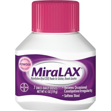 MiraLAX Polyethylene Glycol 3350 Powder Laxative, 4 1 Oz, 7