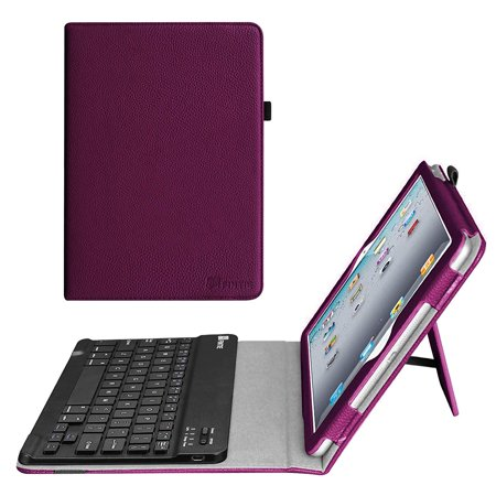 For Apple iPad 4, iPad 3 & iPad 2 Keyboard Case - Fintie Folio Case With Removable Bluetooth Keyboard, Purple (Ipad 4 Keyboard)