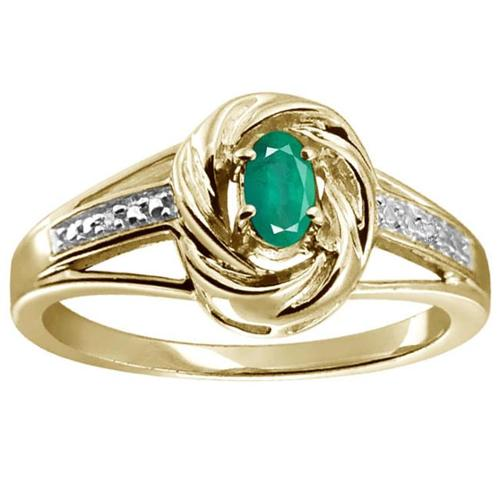Silver Emerald Gemstone and White Diamond Accent Solitaire Ring Gold Over Silver Size 6