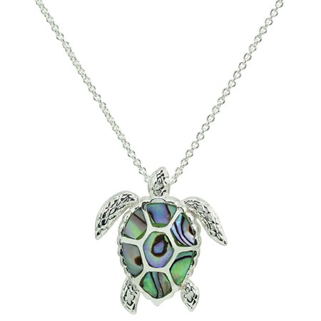 Beach Chic Abalone Sea Turtle Pendant Necklace One Size Green/silver tone multi