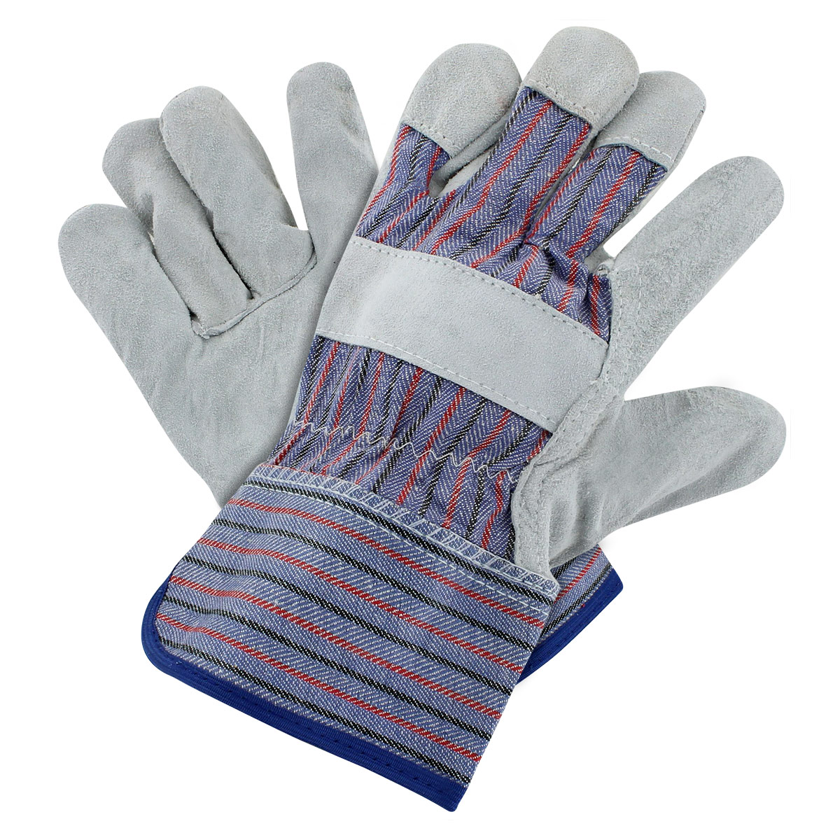 Rugged Blue Leather Palm Work Gloves - Large - 12 Pack