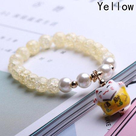 KABOER Individual Ceramic Charm Stylish Fortune Money Cat Bracelet Beaded Vintage (Vintage Yellow Bracelet)
