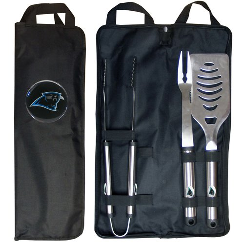 NFL 3-Piece BBQ Set with Canvas Case, Carolina Panthers