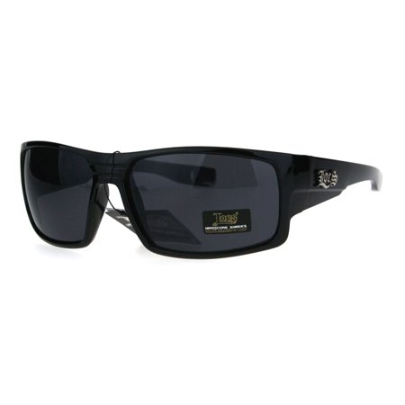 Locs Mens Gangster Oversize Rectangular Cholo Warp Plastic Sunglasses Shiny (Locks Sunglasses)