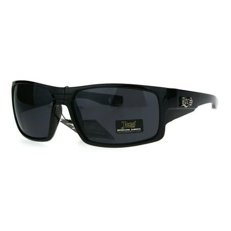 Locs Mens Gangster Oversize Rectangular Cholo Warp Plastic Sunglasses Shiny (Oversized Rectangular Sunglasses)