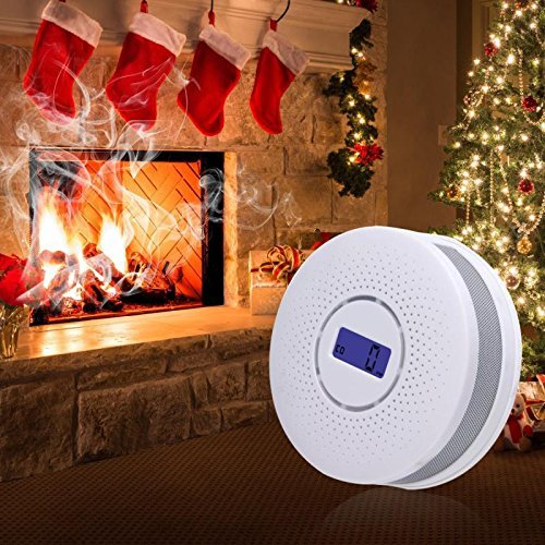 2 in 1 Protection Against Smoke & Carbon Monoxide Combination Carbon Monoxide Detector and Smoke Detector Fire CO Alarm Battery Operated Travel Portable CO Alarm with LCD