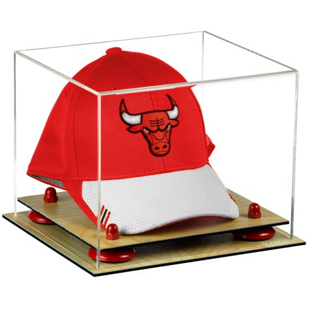 Acrylic Display Case Wood Base - Deluxe Clear Acrylic Basketball Hat or Cap Display Case with Red Risers and Wood Base (A006-RR)