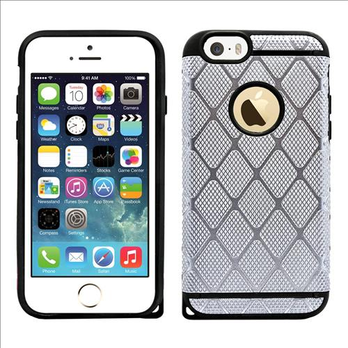 IPhone SE / 5S Rugged Rubber Protective Case Cover Silver