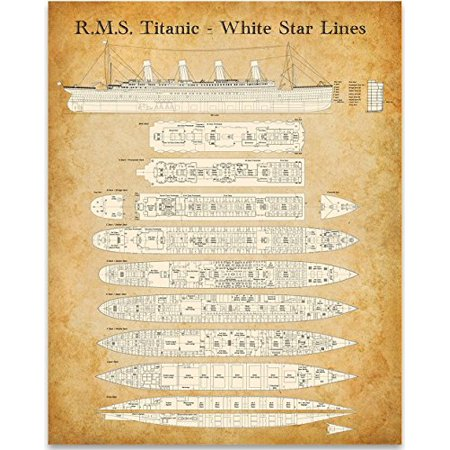 R. M. S. Titanic - White Star Lines Deck Plan - 11x14 Unframed Patent Print - Great Gift for People Who Are Fascinated by The Titanic