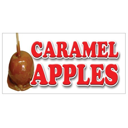 CARAMEL APPLES Concession Decal candy apple signs cart trailer stand sticker](Caramel Apples Halloween)
